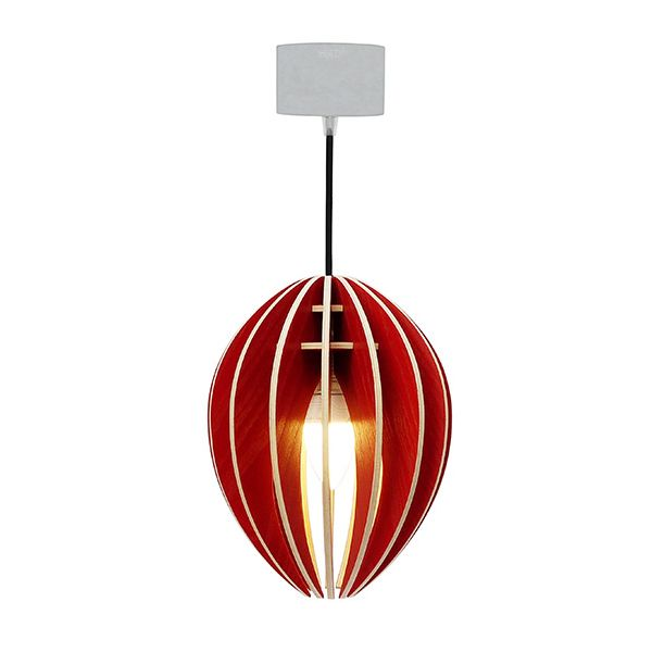 Lustre suspension en bois rouge et b ton ovo millumine for Luminaire suspension rouge