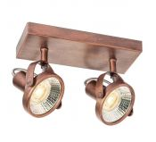 Plafonnier spot LED double Etrusque cuivre antique