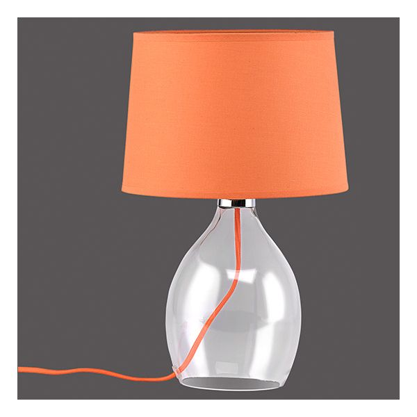 lampe de bureau orange avec pied en verre coda millumine. Black Bedroom Furniture Sets. Home Design Ideas