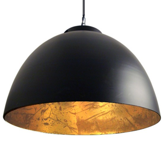 Grande suspension loft noir dor contrast millumine for Grande suspension luminaire