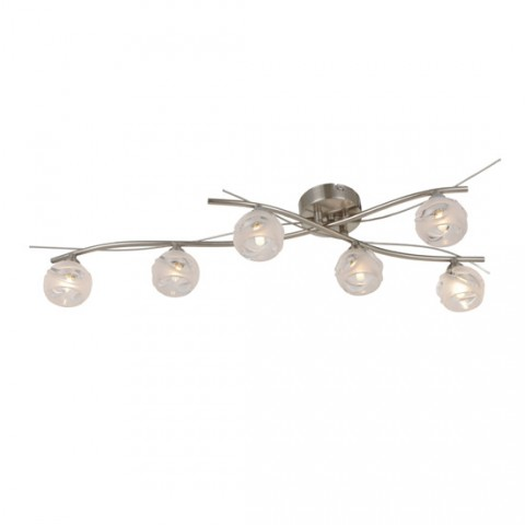 Grand Plafonnier design Bourgeon Nickel 6 lampes