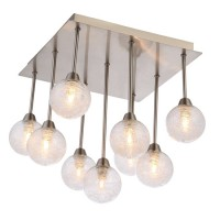 Grand lustre Plafonnier Groovy Nickel satiné 9 lampes