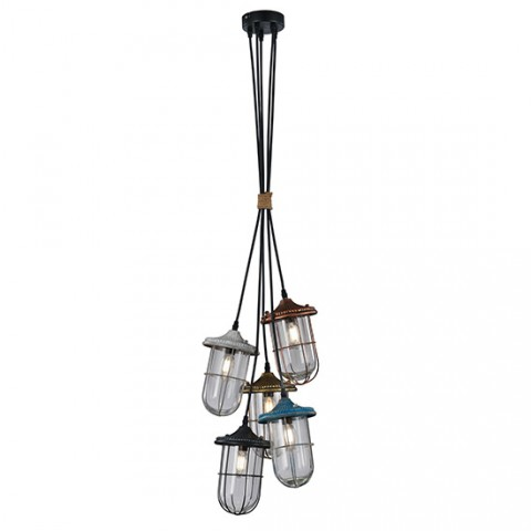 Suspension Industrielle Adele 5 lumieres