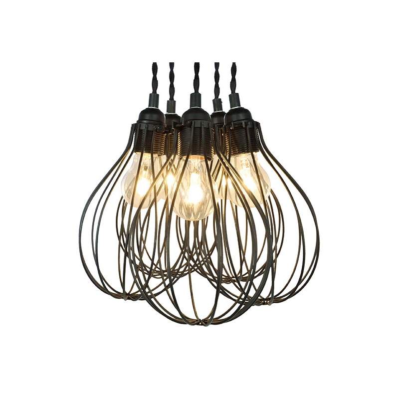 Lustre suspension 5 ampoules foison en m tal noir millumine for Lustre en suspension