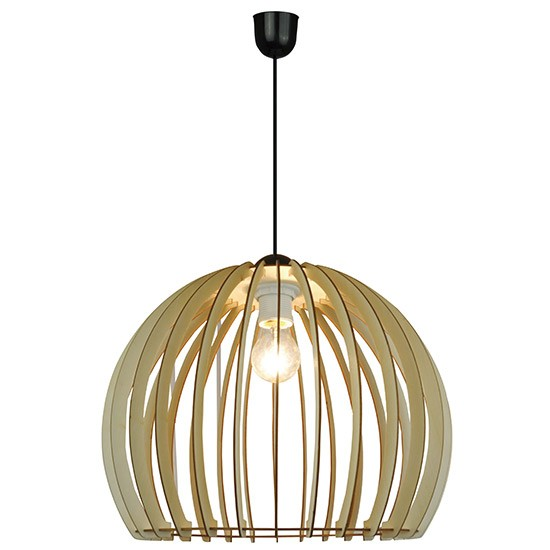Grande suspension bois style scandinave baie d 39 along for Grande suspension luminaire