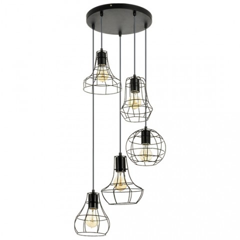 Suspension industrielle 5 lampes Esther