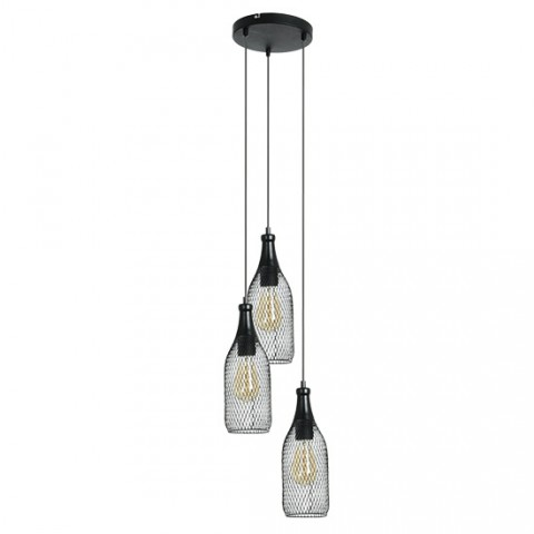 Luminaire industriel Highlight 3 lampes suspension loft