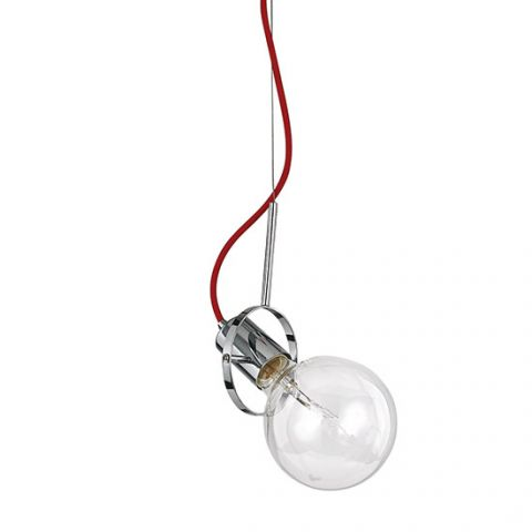Suspension design Eclisse 1 ampoule LED Chrome et rouge