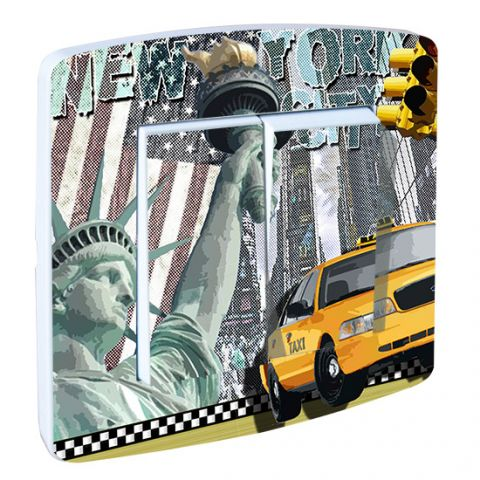 Interrupteur double décor New York Taxi