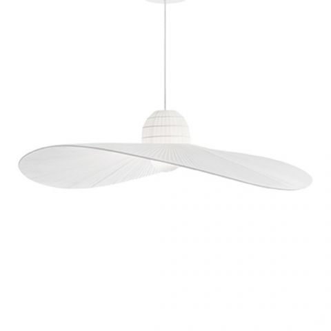 Grande suspension design Dame Chapeau satin blanc