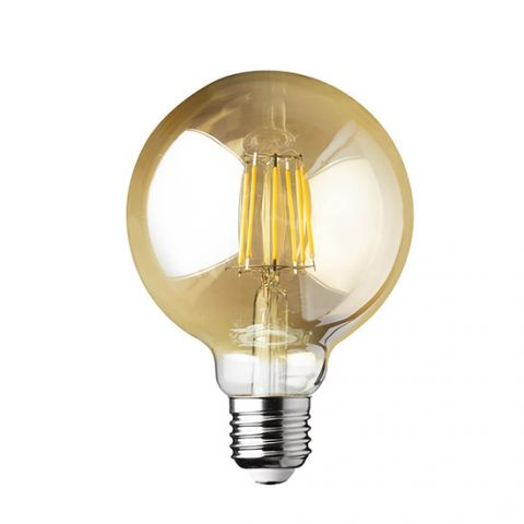 Ampoule LED Filament GLOBE E27 dimmable AMBRE 60 W 9.5 cm diamètre