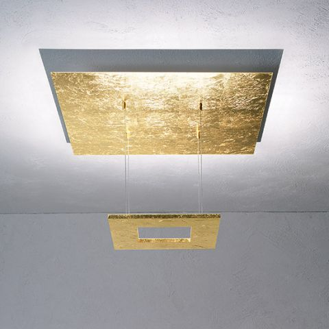 Lustre plafonnier design LED Mystère carré feuille d'or