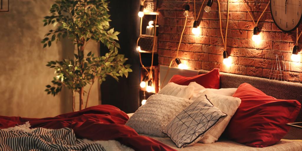 Chambre romantique guirlandes lumineuses