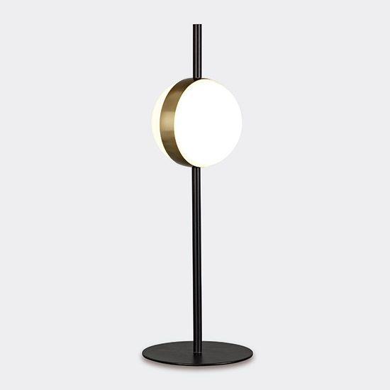 lampe a poser rotonde noir et or led